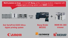 C.P. Bourg to demonstrate for the first time ever its in-line perfect binding solution integrated with a Canon digital printing system and MOHR trimmer at drupa 2016